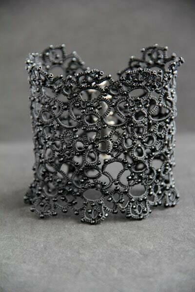 "Wide lacy bracelet ""Black spider web"""