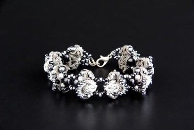 "Multilace bracelet ""Silver Crystal"""