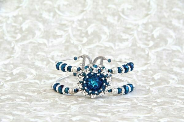 "Bracelet with SW crystals ""Aquamarine Blue"""