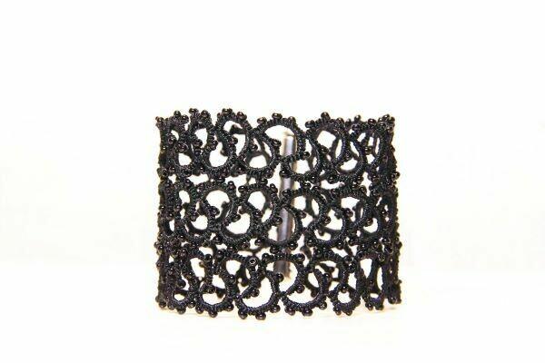 "Wide bracelet handmade ""Labyrinth Black"""
