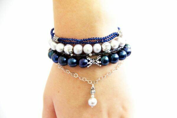 """A set of bracelets made of natural stones """"Elegant Blue"""""""