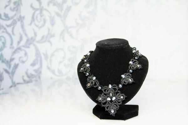 """Lace necklace """"Gray Moon"""""""