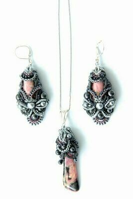 "Set of costume jewelry ""Altai rhodonite"""