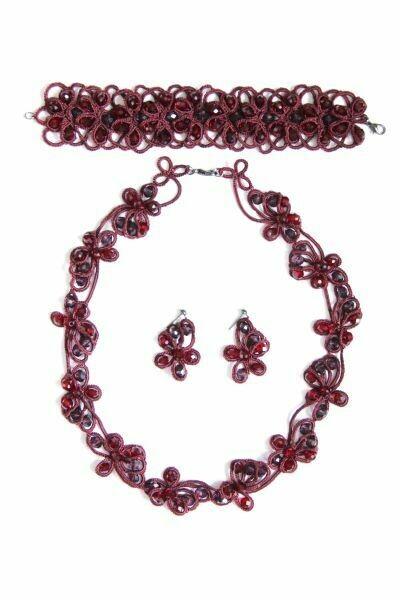 """Lace jewelry set """"Ruby"""""""