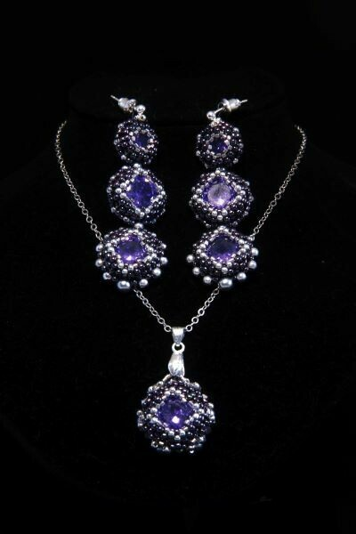 """Set of jewelry with crystals """"Violet"""""""