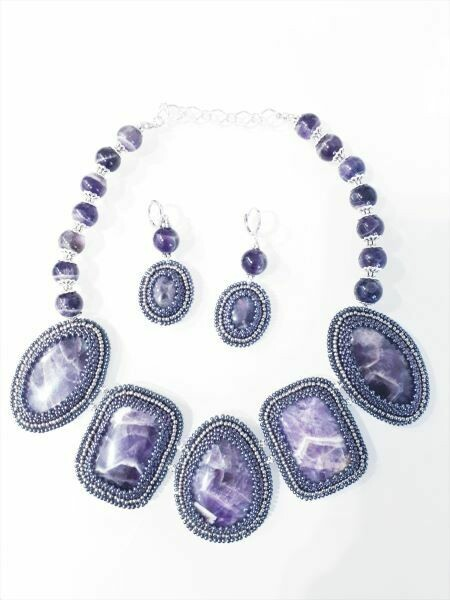 """Set of jewelry with natural stones """"Amethyst"""""""