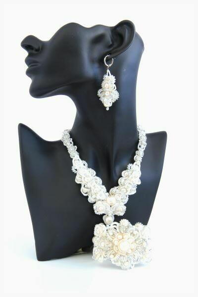 "Lace set ""Wedding"" with Swarovski pearls"