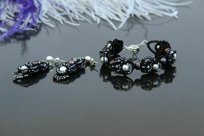 "Lace set with natural pearls ""Olga"""