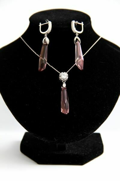 """Set of crystals jewelry """"Luxury Rose"""""""