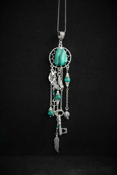 """Suspension (pendant) with natural malachite """"Dreamcatcher"""""""
