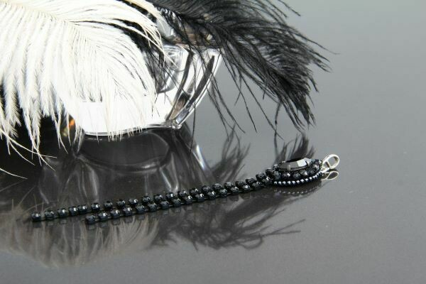 """Pendant with crystal """"Black Chain"""""""