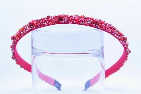 "Headband ""Red & Silver"""