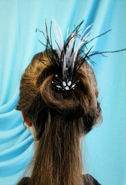 """Hair accessory with crystals """"Black & Gray"""""""