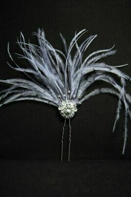 """Hair accessory with crystals """"Gray"""""""