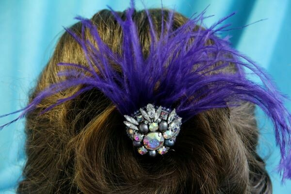 """Hair accessory with crystals """"Violet"""""""
