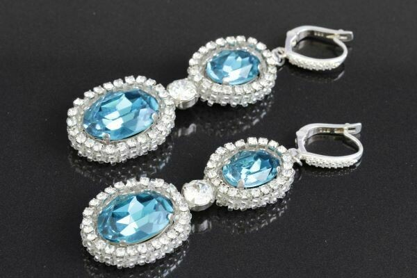 "Earrings with crystals ""Sea Wave"""