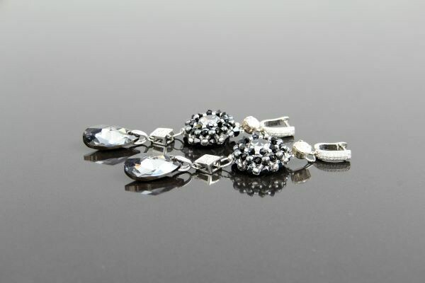 """Earrings with Swarovski crystals """"Dark Crystal"""""""