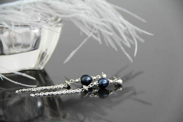 "Earrings with natural pearls ""Elegant Blue"""