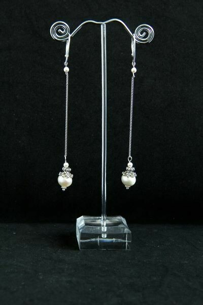 """Earrings with natural pearls """"White pearl on a chain"""""""