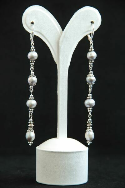 """Earrings with natural pearls """"Silver Drops"""""""