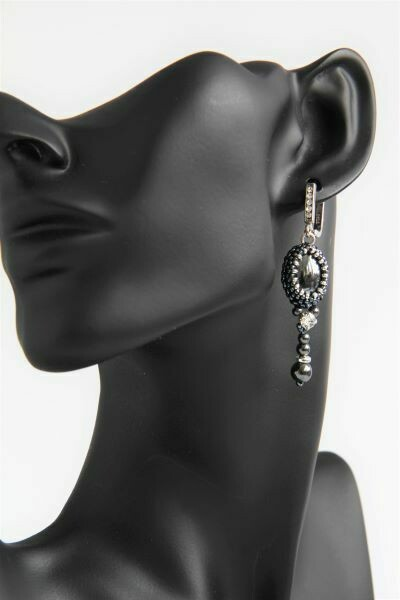 "Earrings of natural hematite ""Black boat"""