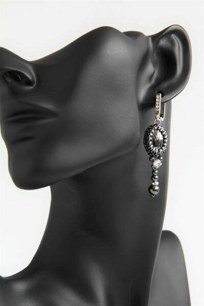 Earrings of natural hematite