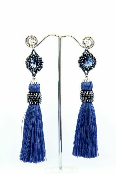 "Tassel earrings with crystals ""Duchess"""