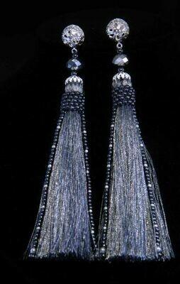 Earrings-tassels gray