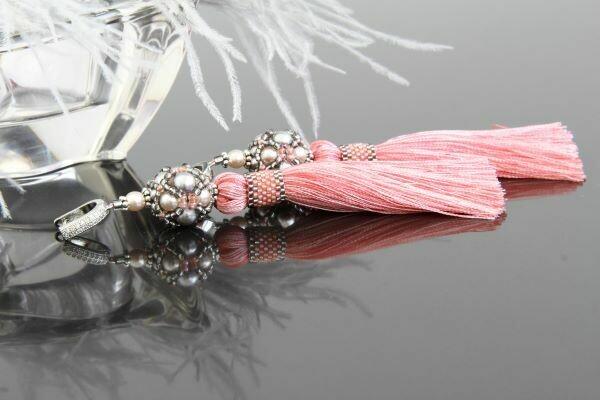 """Tassel earrings with pearls """"Rose Pearls"""""""