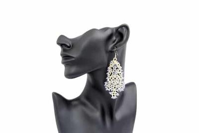 """Lace earrings """"Cream openwork"""""""