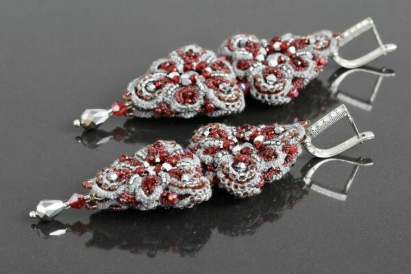 "​Lace earrings ""Orion Bordeaux"""