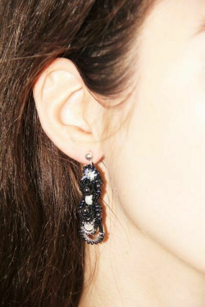 """Multi-tat earrings with natural pearls """"Іnspiration"""""""