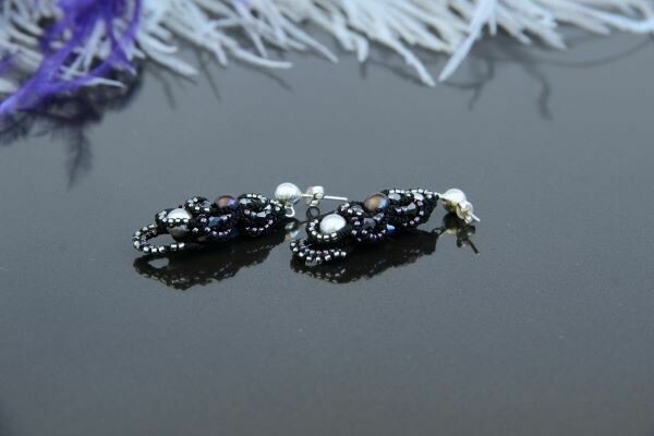 "​Multi-tat earrings with natural pearls ""Olga"""