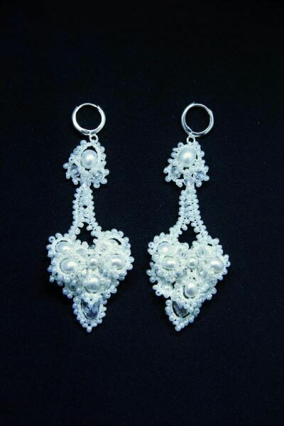 """Lace earrings with pearls """"Snow Queen"""""""