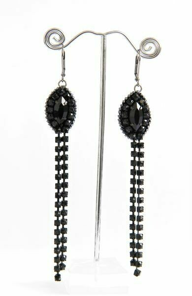 """Earrings with crystals """"Black Chain"""""""