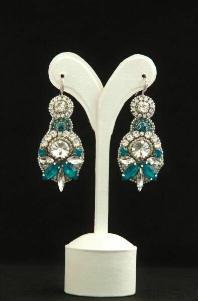 "​Earrings with crystals of turquoise color ""A drop of turquoise"""
