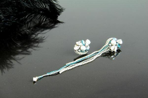 "Earrings with Swarovski crystals ""Asymmetry"""