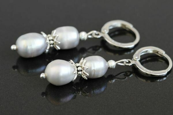 """Earrings with natural pearls """"Silver-Rose Perls"""""""