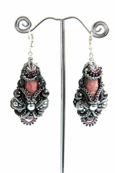 "​Earrings with natural rhodonite ""Altai rhodonite"""