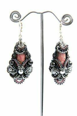 Earrings with natural rhodonite