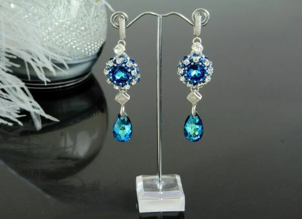 "​Earrings with crystals ""Aquamarine Blue"""