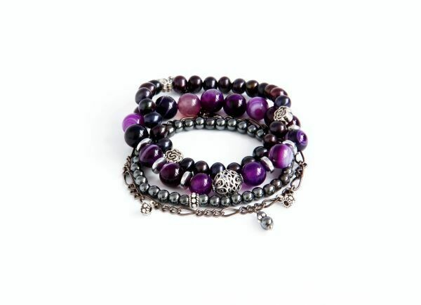 A set of bracelets from natural stones