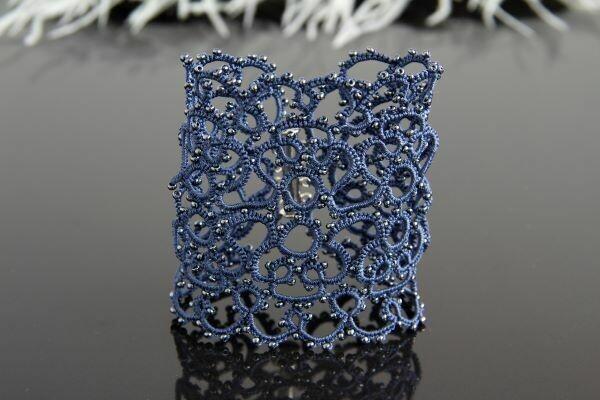 """Lacy bracelet """"Spider Web Blue"""""""