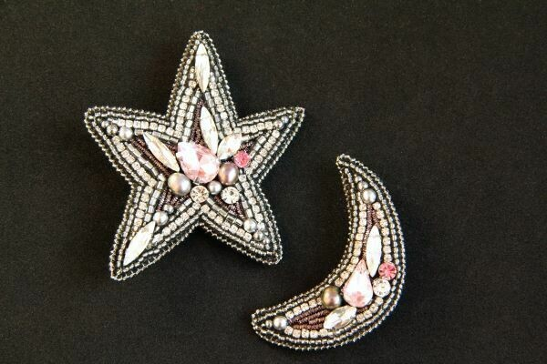 """Set of brooches with crystals """"Star"""" and """"Month"""""""