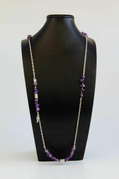 "Long necklace with amethyst​ ""Carmelita"""