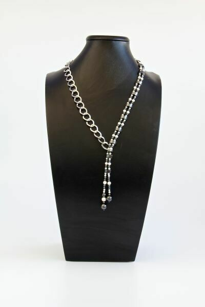 """Necklace with pearls and hematite """"Adeline"""""""
