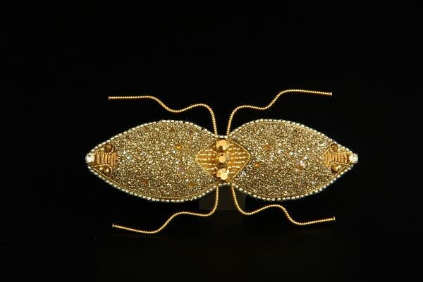 """Brooch with crystals """"Twin beetle"""""""