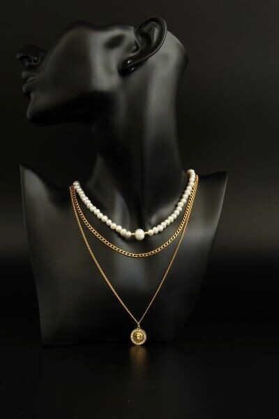 """Layered chain necklace with pearls """"Leonella Plus"""""""