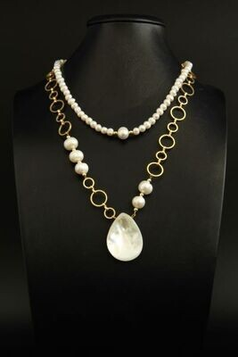 """Layered chain necklace with pearls """"Jacqueline"""""""