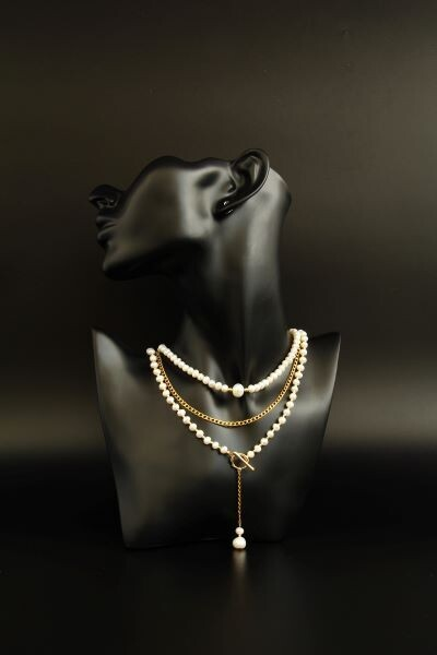 """Layered chain necklace with pearls with pearls """"Belinda"""""""